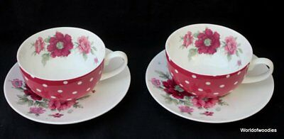 Laura Ashley 2 X Large Cups & Saucers, Flowers And Polka Dot Design