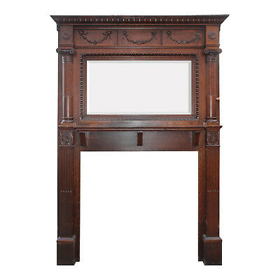 Antique Quarter Sawn Oak Fireplace Mantel with Beveled Mirror, NFPM190