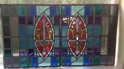 Stained Glass Window 2 panels, Clokey of Belfast. L: 222,44 inch H:24,80 inch
