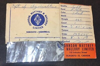 Johnson Matthey & Mallory Limited 2 Grams of Platinum. Original Paper Work 1959