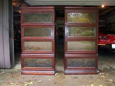 Antique Cherry Barrister Bookcases Step Back Beveled Glass Matched Pair