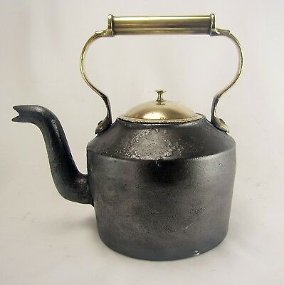 Antique English Victorian Cast Iron and Solid Brass Kettle - circa late 1800's