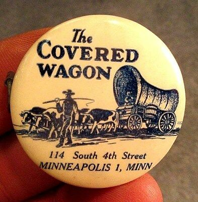 Antique 1919 The Covered Wagon Fine Foods & Liquors Celluloid Cloth Tape Measure