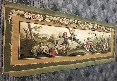 ANTIQUE 18th C AUBUSSON FRENCH HAND WOVEN TAPESTRY WALL HANGING PANEL