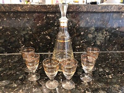 Vintage Sherry/Cordial  Set Decanter & 6 Glasses With Gold Banding