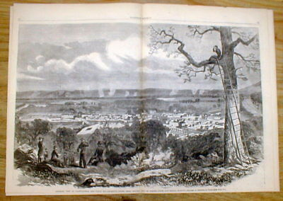 1863 illustrated Civil War newspaper w Large detailed view CHATTANOOGA Tennessee