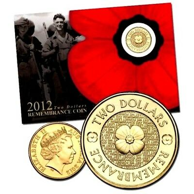 SCARCE 2012 $2 dollars UNC REMEMBRANCE GOLD POPPY COIN BRAND NEW CARDED RARE/C