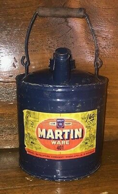 Blue Martin Ware Kerosene One Gallon Steel Container Gas Oil Can Advertising