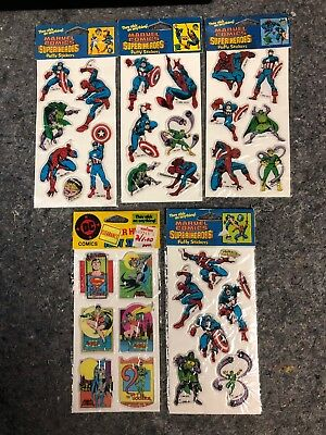 Vintage 1988 Marvel Comics Super Heroes Lot Puffy Stickers Sealed On The Card!!!