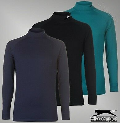 Mens Branded Slazenger Fitted Long Sleeves Roll Neck Baselayer Top Size S-XXL