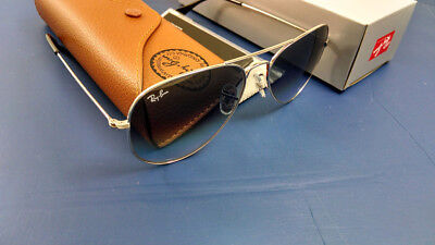 Womens Authentic Ray-Ban Aviator RB3025 003/32 58-14 Silver & Grey Gradient Lens