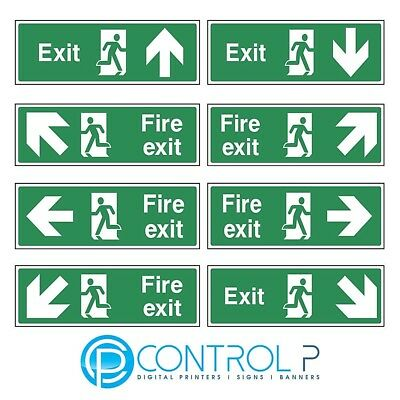 Fire Exit Safety Sign / Sticker 300mm x 100mm - Unbeaten Price