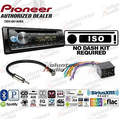 pioneer deh-s6100bs single din car cd stereo radio install kit bluetooth