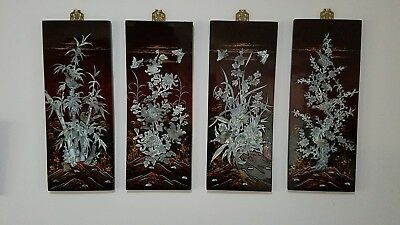 Four Seasons Asian Lacquer Moth-of-Pearl Inlaid Wall Plaques