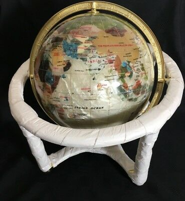 """Gemstone Globe Mother of Pearl Desktop + Compass Stand  12"""" Dia Stand"""