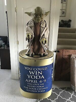 "Star Wars Yoda Statue, 36"" Lifesize W/Stand, Bloackbuster, Phantom Menace, Rare!"