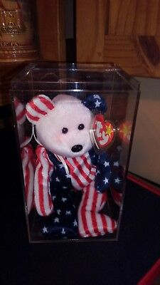 "AUTHENTIC Ty BEANIE BABY ""SPANGLE"" PINK FACE, RED WHITE & BLUE BODY, TAG ERRORS"