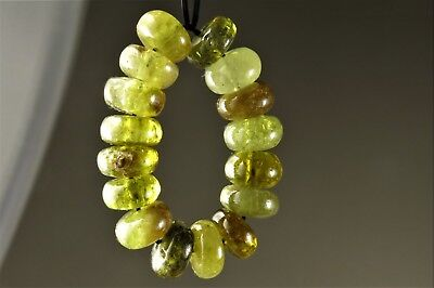 Rare Genuine Quality Green Garnet Rondelle Bead - 8.5mm x 4mm - 16 beads - 6656A