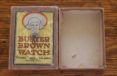 Early Rare Buster Brown Shoes Advertising Character Pocket Watch Box Only