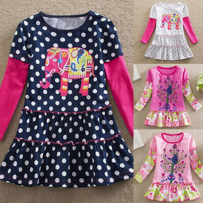 Toddler Kids Baby Girls Long Sleeve Flower Dress Patchwork Ruched Dress Clothes