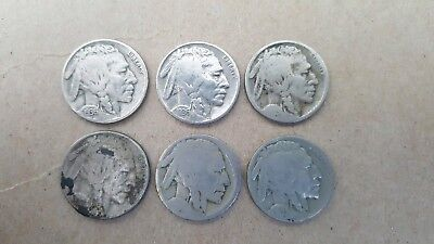 VINTAGE United States Coin Lot Of 6 Buffalo Nickels 1920s-1930s FREE SHIPPING