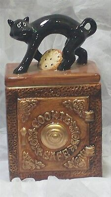 Victorian Trading Co Cookie Safe Black Cat on Bank Cookie Jar 24B