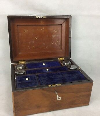 Two Antique Writing Slope Vintage Wooden Box