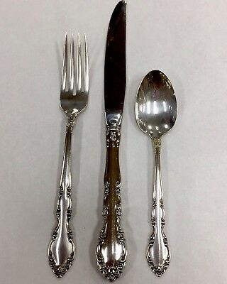 One 3 Piece Solid Sterling Silver Place Setting Heirloom Pattern 12 Available