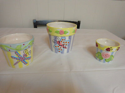 Shannon McGraw Ganz Ceramic 3 Planter Pottery Set Butterfly Dragonfly & Ladybugs