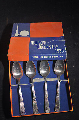 1939 New York Worlds Fair Set of 4 Spoons in ORIGINAL Box
