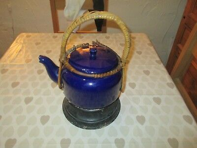 old kettle on wooden stand unusual antique