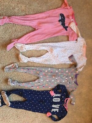 Girls Lot Of 4 Pajamas Carters One Piece Footed Size  12 Months