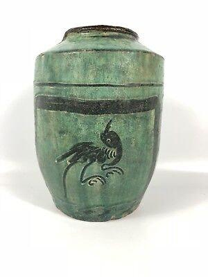 Green Glazed Han Dynasty Jar Antique Ancient Chinese Bird Pottery Earthenware