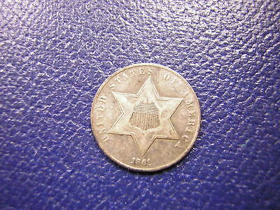 1861 U.S.(3) Three Cent Silver (Trime) / Fine (Civil War Date)