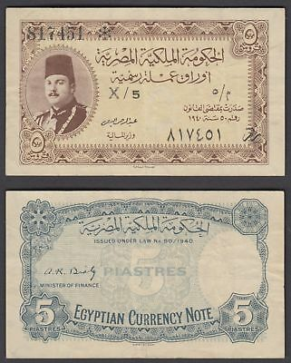 Egypt 5 Piastres 1940 (VF) Condition Banknote KM #165