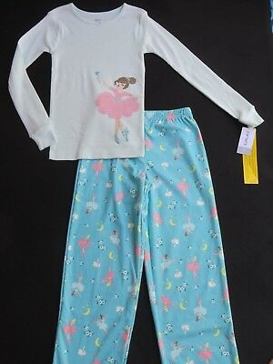 7893f83a4 NWT CARTER S GIRLS Size 8 Pajama Set 2-Pc BALLERINA Blue Pink Cotton ...