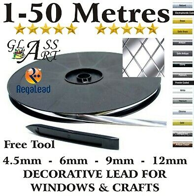 5 to 50 metres self adhesive lead strip tape glass windows crafts REGALEAD tool
