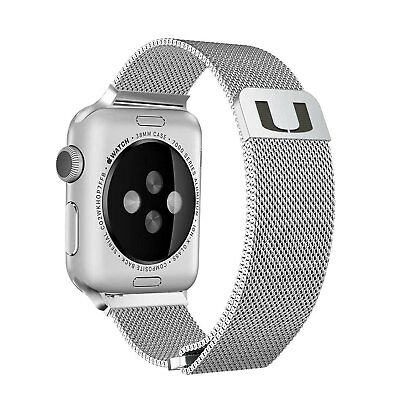 Miami Hurricanes Stainless Steel Mesh Band Compatible with Apple Watch