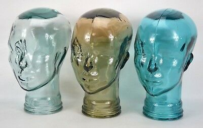 CHOOSE COLOR New Glass Mannequin Head Face Display Life Size Hand Made Spain