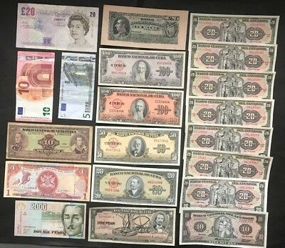 World Currency Paper Money ca 1890s - 2000, lot of 20 notes