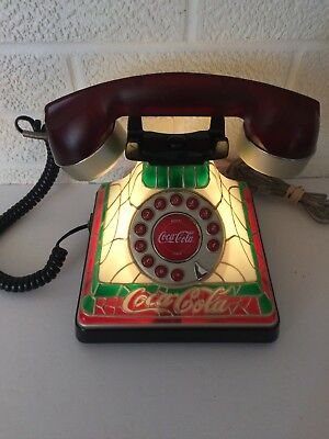 COCA COLA Phone Coke LIGHTED STAINED GLASS Look TELEPHONE TESTED WORKS GREAT!