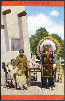 Indians In Scenic Colorado Vintage Postcard