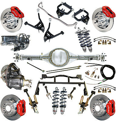 """Ridetech Coilover,4-Link Kit,currie Rear End,wilwood Disc Brakes,12"""" Red,67-70"""