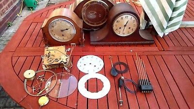 Wooden case Mantle Clocks & parts & movements For Restoration Spare Or repair