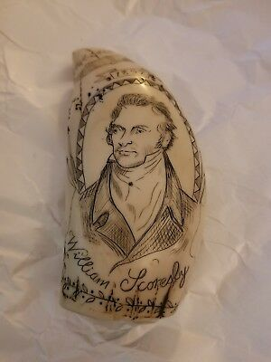Scrimshawed Replica Faux Whale Tooth William Scoresby Baffin Whitby Ship