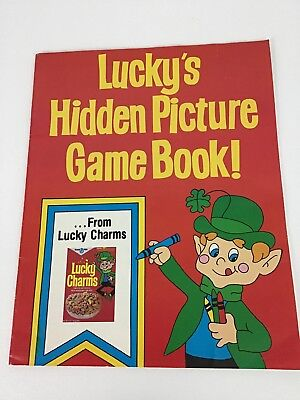 Vintage Lucky Charms Cereal Hidden Picture Game Book Coloring Promo New  Toy