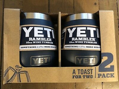 YETI Rambler 10 oz Stainless Steel Vacuum Insulated Wine Tumbler, NAVY  2 Pack