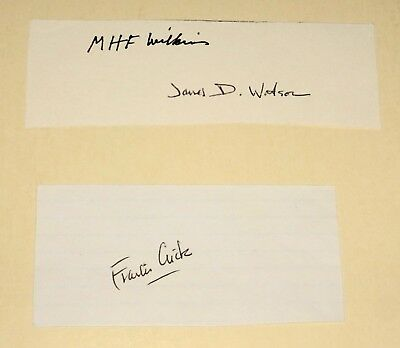 Autographs of All 1962 Nobel Prize Winners for Discovery of DNA