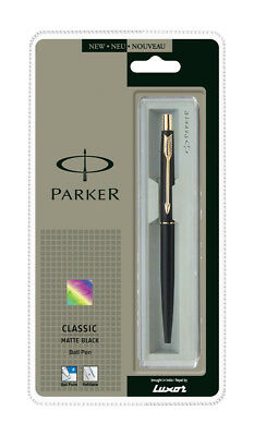 Genuine Parker Classic Matte Gold Clip Gt Black Ball Point Pen, Stainless Steel