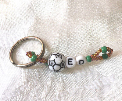 ED personalized beaded men or boys keychain-NEW-Handmade